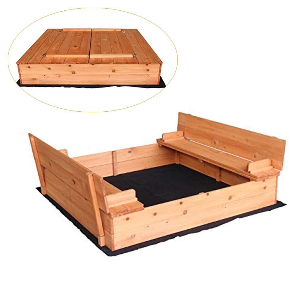 Wooden Sandbox With Lid Cover For 3-8 Years Old Kids