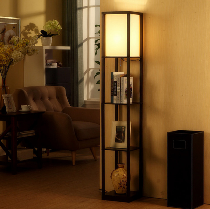 Hot Floor Lamp Wood Shelf White Fabric Shade Light Storage Living Room  Office